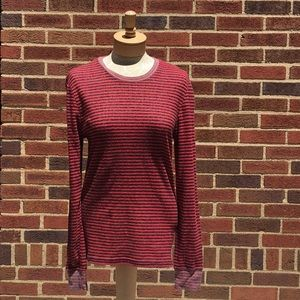 BDG Red and Black Striped Long Sleeve Top Size M